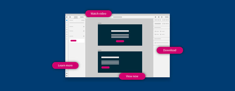 Illustration of consistent buttons from the Assets Panel in Adobe XD.
