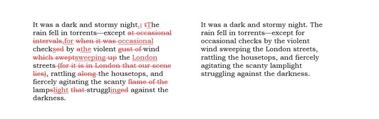 an image showing tracked changes that are gentler in scope while still improving the text, the razor approach
