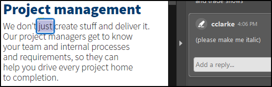 Highlighting text in Project management section, with please make me italic shown to the side